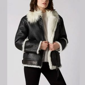 Dichromic Enchantment Shearling Leather Jacket Black & White Color For Women