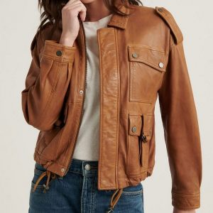 Angelic Brown Leather Fabric Stunning Biker Style Jacket For Women