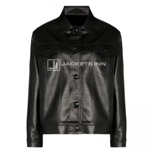 Appealing Black Leather Fabric Old Supreme Style Jacket For Women