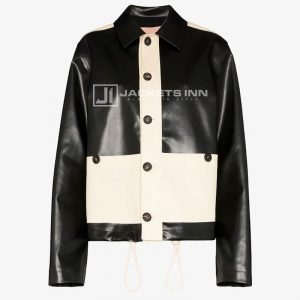 Bicolored Black & White Chromatic Gorgeous Synthetic Leather Jacket For Women