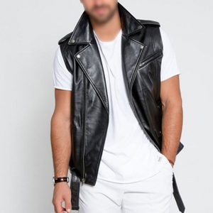 Black Elite Motorcycle Leather Fabric Vest For Mens
