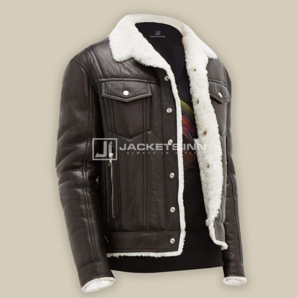 Contemporary Shearling Black Color Leather Fabric Streetstyle Jacket For Mens