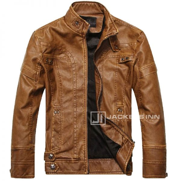 Fancy-Stand-Collar-Slim-Biker-Brown-Leather-Fabric-Jacket-In-Mens_1