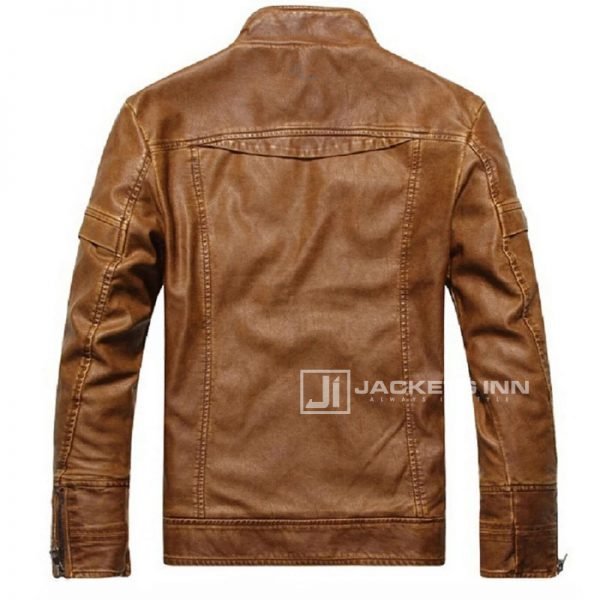 Fancy-Stand-Collar-Slim-Biker-Brown-Leather-Fabric-Jacket-In-Mens_2
