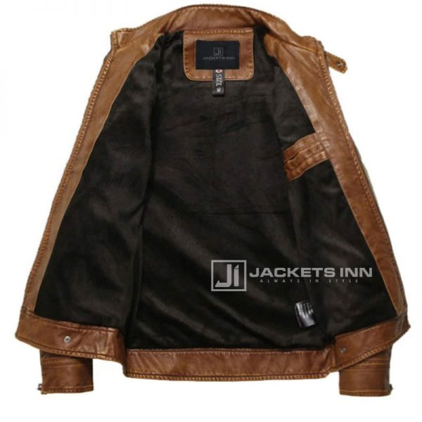 Fancy-Stand-Collar-Slim-Biker-Brown-Leather-Fabric-Jacket-In-Mens_3