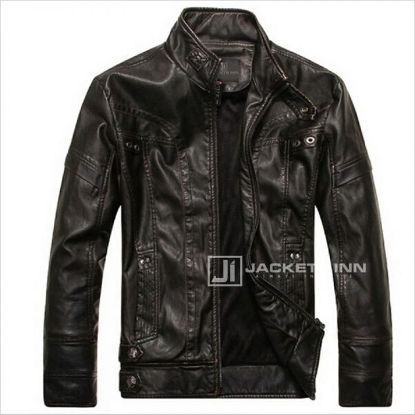Fancy-Stand-Collar-Slim-Biker-Brown-Leather-Fabric-Jacket-In-Mens_4