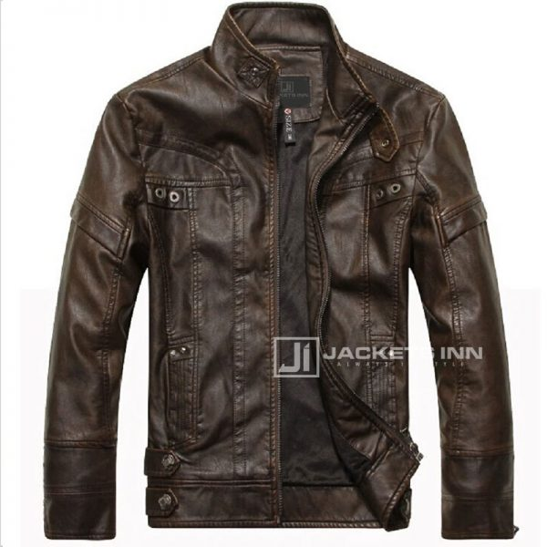 Fancy-Stand-Collar-Slim-Biker-Brown-Leather-Fabric-Jacket-In-Mens_5