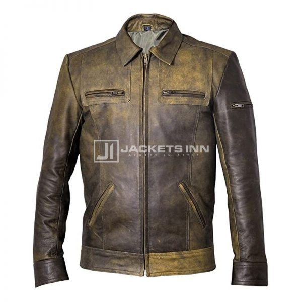 Marvelous Olive Green Classic Style Leather Jacket For Men's