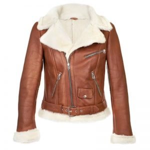 B3 Bomber Aviator Brown Leather Jacket, Shearling Sheepskin Motorcycle Women Leather Jacket With Faux Fur