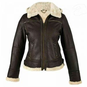 B3 Bomber, RAF Aviator Flying Collar, Brown Shearling Womens Leather Jacket, Real Leather with Faux Fur