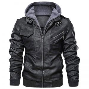 Hood_Crew_Men's_Casual_Stand_Collar_PU_Faux_Leather_Zip_Up_Motorcycle_Bomber_Jacket_With_a_Removable_Hood_5Hood_Crew_Men's_Casual_Stand_Collar_PU_Faux_Leather_Zip_Up_Motorcycle_Bomber_Jacket_With_a_Removable_Hood