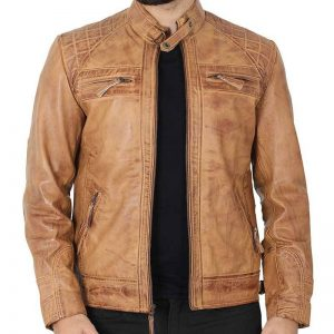 Johnson_Camel_Quilted_Leather_Motorcycle_Jacket