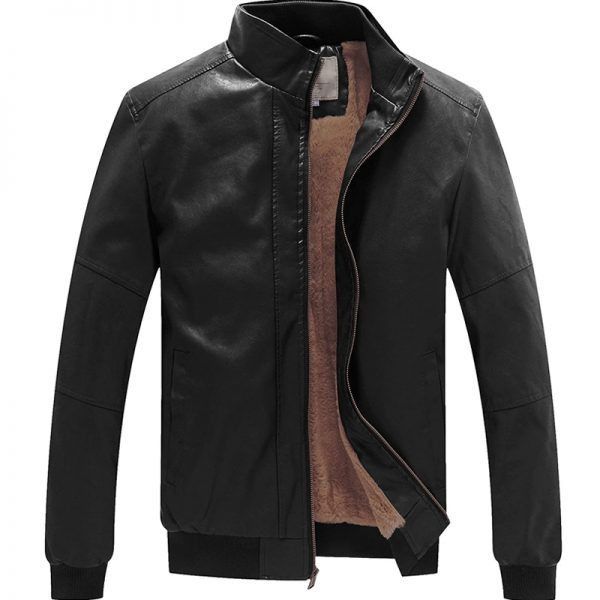 WenVen_Men's_Stand_Collar_Fleece_Lined_Bomber_Faux_Leather_Jacket