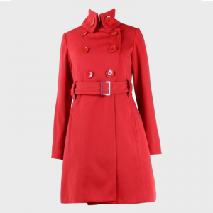 Womens_Red_Belted_Mid_Length_Coat