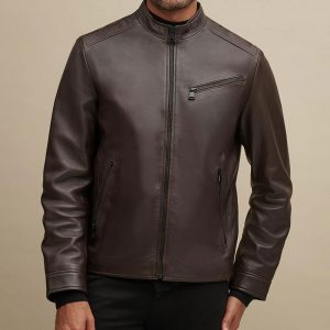 MARC NEW YORK Leather Jacket with Zipper Pockets