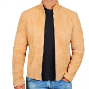 Mens Tan Front Zipper Suede Leather Jacket With Mandarin Collar